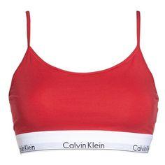 Women's Calvin Klein Modern Cotton Bralette (175 NOK) ❤ liked on Polyvore featuring intimates, bras, empower, elastic bra, spaghetti strap bra, calvin klein, bralette bras and calvin klein bra