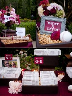 Baseball theme.  Kinda cute.  Would be cute for a couples shower. I don't think it's formal enough for a wedding.