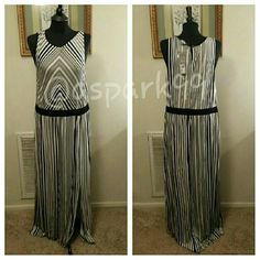 """Summer Zen Maxi NWT. Black and white, long sleeveless maxi. Front, side slit. Rayon/ Spandex blend. So soft! Approx 59-69"""" long Daisy Fuentes Dresses Maxi"""