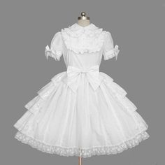 Cheap Lolita Plain White Cotton Lapel Ruffles Bow Short Sleeves Sweet Princess Dress Sale At Lolita Dresses Online Shop. We provide Lolita products with quality and best service online, lower price and top style fashion for you. Frilly Dresses, Pretty Dresses, Girls Dresses, Style Lolita, Gothic Lolita, Victorian Gothic, Gothic Steampunk, Steampunk Clothing, Gothic Girls