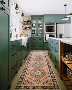 Kitchen Interior Design 13 Envy-Inducing Green Cabinets That Will Make Your Houseguests Jealous Green Kitchen Cabinets, New Kitchen, Kitchen Colors, Kitchen Corner, Awesome Kitchen, Dark Green Kitchen, Beautiful Kitchen, Kitchen Paint, Kitchen Wood