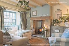 25 Beautiful Homes magazine. Lavender Cottage is featured in this months, 25 Beautiful Homes magazine. Style At Home, Cottage Living Rooms, Home Living Room, Cottage Homes, Cosy Living Room Warm, Cosy Living Room Decor, Living Room Ideas Uk, Farrow And Ball Living Room, Log Burner Living Room