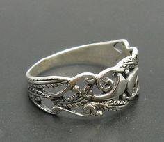 R000245 STERLING SILVER Ring Solid 925 Leaf by EmpressSilver