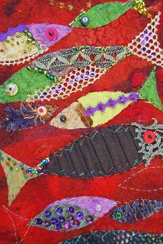 Wall hanging, fishes by sassafrasdesign, via Flickr