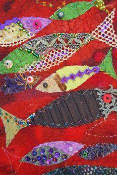 Wall hanging, fishes by sassafrasdesign, via Flickr