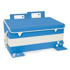 Mess Eaters: Blue Toy Trunk Boys Girls Storage Safety Bedroom Playroom Organizer