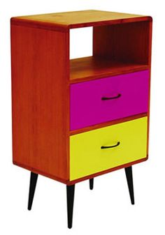 Mid century Retro Bedside Table - From: Urban Outfitters Absolutely LOVE this! Very bright colours, and is very modern but very classic at the same time (if that's even possible)! Sturdy, with good amounts of storage space.