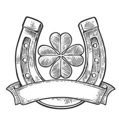 Illustration of Good luck four leaf clover and horseshoe with ribbon. Vintage vector engraving illustration for info graphic, poster, web. Black on white background vector art, clipart and stock vectors. Four Leaf Clover Tattoo, Clover Tattoos, Bird Tattoos, Feather Tattoos, Traditional Tattoo Flowers, Traditional Tattoo Old School, Luck Tattoo, 4 Tattoo, Toro Vector