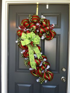 Candy Cane with lime green  bow and lot's of by CindysSilks, $82.00