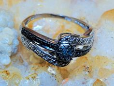 Regular Price 149.99 Natural Blue Diamond Ring sz8 .13ct Comfort Fit 925 Sterling Silver Free Domestic Shipping by Montanasilver796 on Etsy