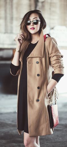 Classic Camel Coat: Chriselle Lim is wearing a camel coat from Aritzia