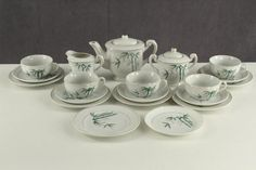 Vintage Childs Demitasse China Tea Set BAMBOO Pattern Gold Trim Japan