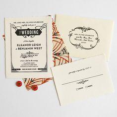 Gatsby de invitación de boda Letterpress de por hellotenfold
