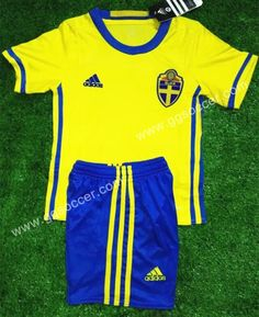 Cheap soccer jersey from topjersey 2016 European Cup Sweden Home Yellow Kits/Youth Soccer Uniform-Sweden,Youth and Kid set| topjersey
