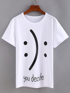 Shop Emoticons Print White T-shirt online. SheIn offers Emoticons Print White T-shirt & more to fit your fashionable nee T Shirt Custom, T Shirt Branca, Geile T-shirts, T Shirt Painting, White Short Sleeve Tops, Diy Vetement, Shirt Print Design, Tee Shirt Designs, Painted Clothes