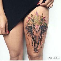 Wild elephant tattoo