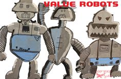 """value robots using black, white, and blue tempera, 12"""" x 18"""" paper, and sharpie."""