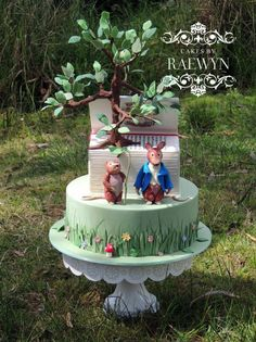 Beatrix Potter Baby Shower Cake was made by Cakes by Raewyn. Features Timmie Willie and Johnny Town-Mouse from the book The Tale of Johnny Town-Mouse.