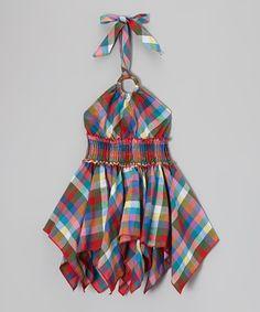 Another great find on #zulily! Red & Blue Plaid Handkerchief Halter Dress - Toddler & Girls #zulilyfinds