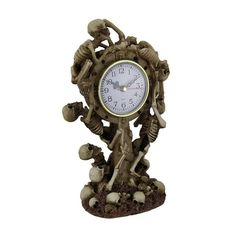 Time to Rise Climbing Skeletons Decorative Tabletop Clock, Tan (Plastic)