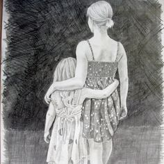 Mother/daughter or sisters print of pencil drawing $10 on www.etsy.com/shop/cullmanlaurasart