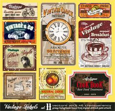 趣きのあるレトロなラベル デザイン european retro label vector イラスト素材1