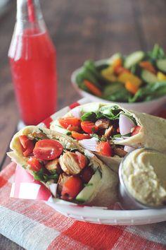 Greek+Chicken+Hummus+Wraps