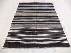 "Stripe Turkish Kilim Rug,5,10""x8"" Feet 179x245 Cm Flat Weave Goat Hair Woven Turkish Kilim Rug,Home Floor Decor Anatolian Area Kilim Rug."