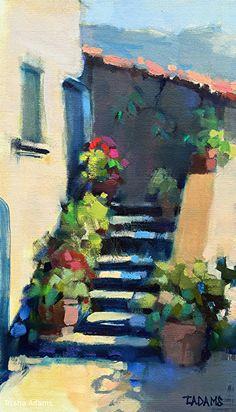 Pots on the Steps by Trisha Adams Oil ~ 16 x 9