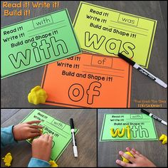 These sight word task cards allow your students practice with Fry's first and second 100 words as well as the Dolch pre-primer, primer and first grade word lists. Students will read the word, write the word and then build it.