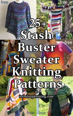 Scrap Yarn Sweater Knitting Patterns. These sweater, cardigan, poncho, and other clothing projects are great ideas to use up your leftover and stash yarn. Many of the patterns are free Poncho Sweater With Sleeves, Poncho Tops, Sweater Cardigan, Sweater Knitting Patterns, Free Knitting, Fair Isle Chart, Zig Zag Dress, Twilight New Moon, Dk Weight Yarn
