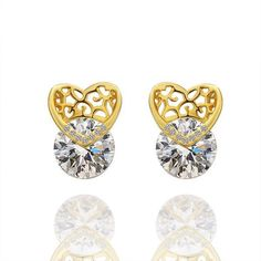 18K Laser Cut Heart Earrings Made with Swarovksi Elements only by: Rubique Jewelry, Women's