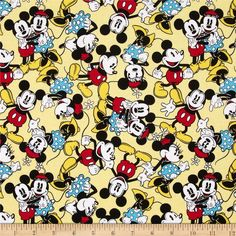 Disney Mickey Mouse & Minnie Mouse Tossed Yellow from @fabricdotcom  Designed by Disney and licensed to Springs Creative Products, this cotton print fabric is perfect for quilting, apparel and home decor accents. Colors include black, red, green, blue, grey, white, and shades of yellow. Due to licensing restrictions, this item can only be shipped to USA, Puerto Rico, and Canada.