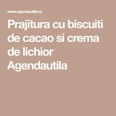 Prajitura cu biscuiti de cacao si crema de lichior Agendautila Biscuit, Food And Drink, Sweet, Cakes, Cream, Candy, Cake Makers, Kuchen, Cake