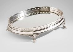 Oval Mirrored Silver Tray at Ethan Allen - on sale for for my dresser Black Bathroom Sets, Bathroom Tray, Black Interior Design, Stone Interior, Victorian Medicine Cabinets, Pink Vanity, Mirror Tray, Mirror Glass, Silver Trays