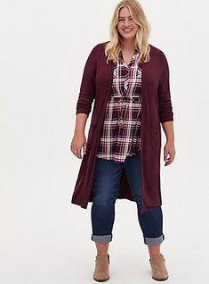 Plus Size Super Soft Slub Burgundy Purple Open Front Longline Cardigan, WINETASTING Mom Outfits, Fall Outfits, Casual Outfits, Cute Outfits, Target Outfits, Jean Outfits, Everyday Outfits, Plus Size Cardigans, Plus Size Tops
