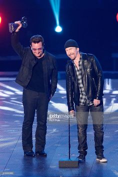 Singer Bono (L) and musician The Edge of U2 accept the Innovator Award onstage during the iHeartRadio Music Awards at The Forum on April 3, 2016 in Inglewood, California.