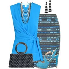 As always, drawn to the blue/turquoise. The wrap shirt eliminate floating waist... hah.