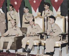 ملك العراق فيصل الثاني مع ملك الاردن الملك حسين ولي العهد الامير عبد الاله رحمهم الله