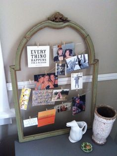 cute frame with wire to hang photos from.
