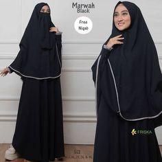 Marwah Syari by Friska Niqab, Womens Fashion, Black, Dresses, Vestidos, Black People, Women's Fashion, Dress, Woman Fashion