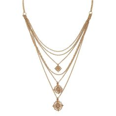 Forever 21 Layered Filigree Charm Necklace ($5.90) ❤ liked on Polyvore featuring jewelry, necklaces, filigree necklace, forever 21, forever 21 jewelry, multi layer necklace and double layer necklace