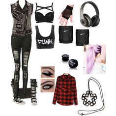 My wwe attire or outfit by maryanneftw on Polyvore featuring polyvore, fashion, style, Neon Hart, Kill Star, Boohoo, Topshop, Beats by Dr. Dre, NIKE and Converse