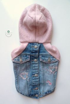 Denim and Pink Sweater Combo Jacket Upcycled XS by PupCycleCanada, $35.00