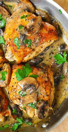 Three Herb Chicken and Mushrooms Chicken and Mushrooms with a Creamy Herb Sauce – moist and tender chicken thighs with crispy skin! Turkey Recipes, Meat Recipes, Dinner Recipes, Cooking Recipes, Healthy Recipes, French Food Recipes, Dinner Ideas, Chicken Mushroom Recipes, Chicken Thigh Recipes