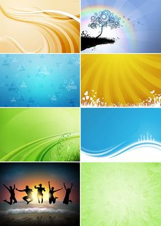 Abstract Background Vector Graphics with Three Sunshine Effects - Free Download