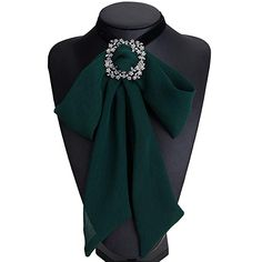 Women Girls Yarn Lace Bow Brooch Pre-Tied Neck Tie Brooches Pin Bow Tie Collar Jewelry Dangle for Christmas (Green) Diy Fashion, Womens Fashion, Fashion Tips, Fashion Design, Diy Hair Accessories, Fashion Accessories, Women Ties, Neck Piece, Fabric Jewelry
