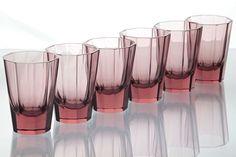 6 Art Deco Kristall Becher Gläser Trinkgläser Glas flieder rosa Moser R3M