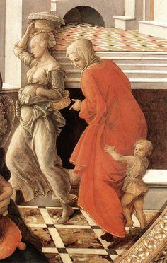 Fra Filippo Lippi. Tondo Bartolini - Wikimedia Commons. Фра Филиппо Липпи (1406-1469) - Мадонна с младенцем и сцены из жизни Святой Анны (фрагмент) 1452  Дворец Питти.