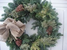 Country Christmas Wreath Rustic Holiday Wreath Wedding Wreath For December Bride Holiday Wreath Natural Wreath Burlap haare hochzeit wreath wedding flowers flowers summer flowers white wedding Burlap Christmas, Country Christmas, Simple Christmas, Christmas Greenery, Christmas Cookies, Christmas Ideas, Christmas Ornaments, Homemade Christmas Gifts, Personalized Christmas Gifts